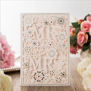 พับด้านข้าง เชิญแต่งงาน 20 - การ์ดส่งบัตรเชิญ Artistic Style Pure Paper 7 1/5