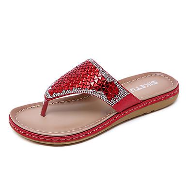 สำหรับผู้หญิง รองเท้าแตะและรองเท้าแตะ ส้นแบน ปลายกลม เลื่อม PU ไม่เป็นทางการ / หวาน ฤดูร้อนฤดูใบไม้ผลิ สีดำ / สีทอง / แดง