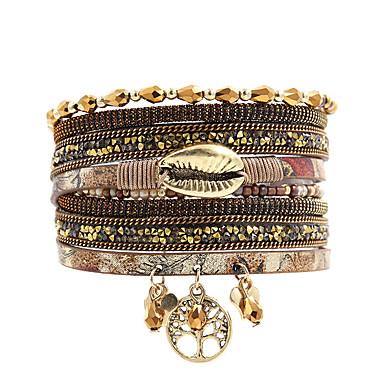 voordelige Dames Sieraden-mode vrouwen lifetree metalen lip strass kristal kralen lederen armband