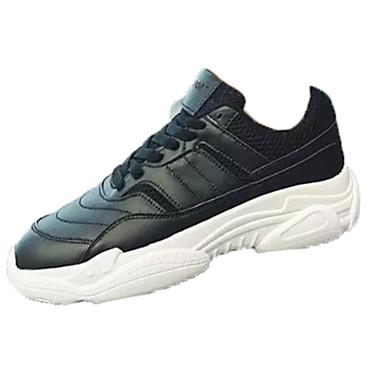 สำหรับผู้ชาย รองเท้าสบาย ๆ PU ฤดูใบไม้ผลิ Sporty รองเท้ากีฬา สำหรับวิ่ง ไม่ลื่นไถล สีดำและสีขาว / ขาว / ผ้าขนสัตว์สีธรรมชาติ / การกรีฑา