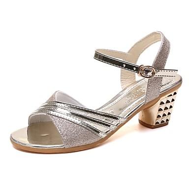 สำหรับผู้หญิง รองเท้าแตะ ส้นหนา PU ฤดูร้อน สีดำ / สีทอง / สีเงิน