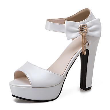 สำหรับผู้หญิง รองเท้าแตะ ส้นหนา ที่สวมนิ้วเท้า PU คลาสสิก / minimalism ฤดูร้อน ขาว / ฟ้า / สีชมพู / พรรคและเย็น / พรรคและเย็น