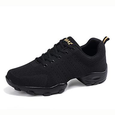 cheap Men's Dance Shoes-Men's Dance Shoes Knit / Mesh Dance Sneakers Sneaker Flat Heel Customizable White / Black