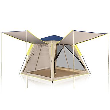 KEUMER 4 คน แคมป์เต็นท์สำหรับครอบครัว กลางแจ้ง กันลม กันน้ำฝน สวมใส่ได้ เดี่ยว Pole เต็นท์แคมปิ้ง 1500-2000 mm สำหรับ แคมป์ปิ้ง / การปีนเขา / เที่ยวถ้ำ Picnic ใยแก้ว ผ้าออกซ์ฟอร์ด 210*210*168 cm