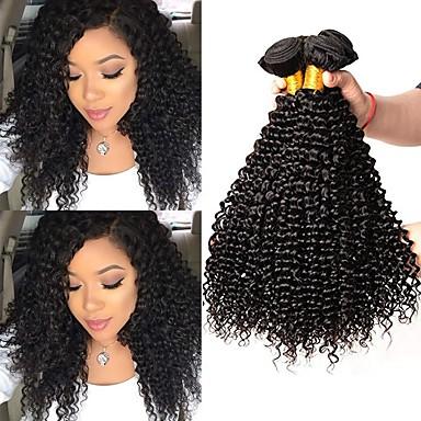 povoljno Ekstenzije od ljudske kose-4 paketića Brazilska kosa Kinky Curly Remy kosa Ljudske kose plete Bundle kose Ekstenzije od ljudske kose 8-28inch Prirodna boja Isprepliće ljudske kose novorođenče Jednostavan Odor Free Proširenja