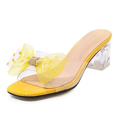 สำหรับผู้หญิง รองเท้าแตะ รองเท้าส้นสูงคริสตัล ที่สวมนิ้วเท้า พีวีซี / Microfibre ส้น Lucite ฤดูร้อนฤดูใบไม้ผลิ สีดำ / ขาว / สีเหลือง / พรรคและเย็น / พรรคและเย็น