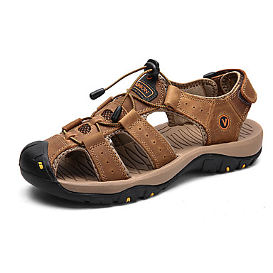 cheap Men's Sandals-Men's Comfort Shoes Summer Sporty / Casual Daily Outdoor Sandals Water Shoes / Walking Shoes Cowhide Breathable Dark Brown / Black / Yellow
