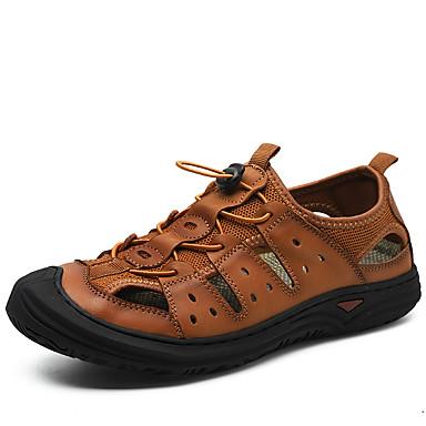 สำหรับผู้ชาย รองเท้าสบาย ๆ หนัง ฤดูร้อนฤดูใบไม้ผลิ คลาสสิก / ไม่เป็นทางการ รองเท้าแตะ ไม่ลื่นไถล สีดำ / สีน้ำตาล / กลางแจ้ง
