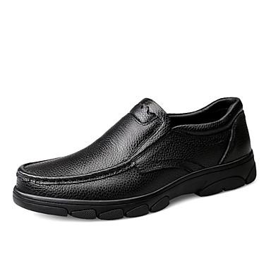 สำหรับผู้ชาย สไตล์อินเดียนแดง หนัง ฤดูใบไม้ผลิ / ตก ธุรกิจ / ไม่เป็นทางการ รองเท้าส้นเตี้ยทำมาจากหนังและรองเท้าสวมแบบไม่มีเชือก ไม่ลื่นไถล สีดำ / สีน้ำตาล / สำนักงานและอาชีพ / รองเท้าขับขี่