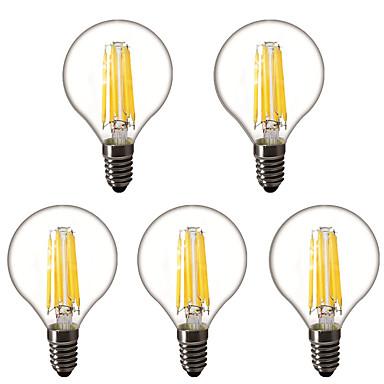 preiswerte LED Glühbirnen-5 Stück 4 W LED Kugelbirnen LED Glühlampen 450 lm E14 E26 / E27 G45 6 LED-Perlen Hochleistungs - LED Dekorativ Warmes Weiß 220-240 V 220 V 230 V