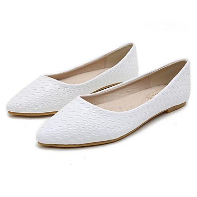 สำหรับผู้หญิง รองเท้าส้นเตี้ย ส้นต่ำ PU ฤดูใบไม้ผลิ สีดำ / ขาว / ผ้าขนสัตว์สีธรรมชาติ