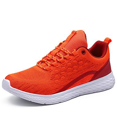สำหรับผู้ชาย รองเท้าสบาย ๆ ผ้ายืดหยุ่น / Tissage Volant ฤดูใบไม้ผลิ Sporty รองเท้ากีฬา สำหรับวิ่ง ไม่ลื่นไถล ลายบล็อคสี สีดำ / สีดำ / สีแดง / ส้ม / การกรีฑา