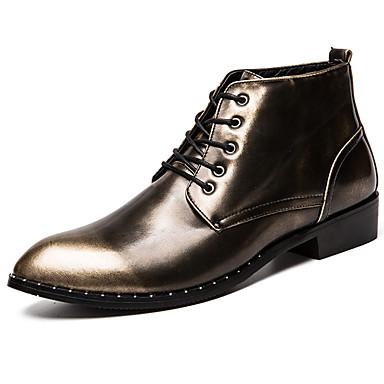 สำหรับผู้ชาย Fashion Boots Synthetics ฤดูใบไม้ร่วง & ฤดูหนาว ไม่เป็นทางการ / อังกฤษ บูท รักษาให้อุ่น ไล่โทนสี สีทอง / สีดำ / สีแดงเบอร์กันดี