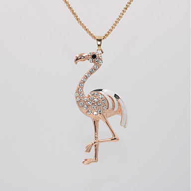 povoljno Modne ogrlice-Žene Ogrlice s privjeskom Ogrlica Duga ogrlica Klasičan Sa životinjama Flamingo Jedinstven dizajn pomodan Romantični Moda Krom Pozlata od crvenog zlata Obala Pink 70 cm Ogrlice Jewelry 1pc Za Dnevno