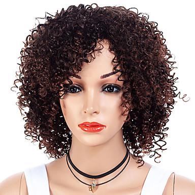 วิกผมสังเคราะห์ Afro Kinky ส่วนด้านข้าง ผมปลอม ขนาดกลาง น้ำตาล / สีเบอร์กันดี สังเคราะห์ 12 inch สำหรับผู้หญิง การออกแบบทางด้านแฟชั่น ผู้หญิง สังเคราะห์ น้ำตาลเข้ม