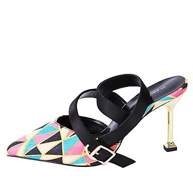 สำหรับผู้หญิง รองเท้าส้นสูง ส้น Stiletto PU ฤดูใบไม้ผลิ สีดำ / สีน้ำตาลอ่อน / สายรุ้ง / ทุกวัน