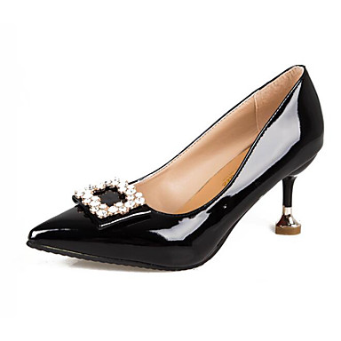 สำหรับผู้หญิง รองเท้าส้นสูง ส้น Stiletto PU ฤดูใบไม้ผลิ สีดำ / แดง / สีชมพู / ทุกวัน