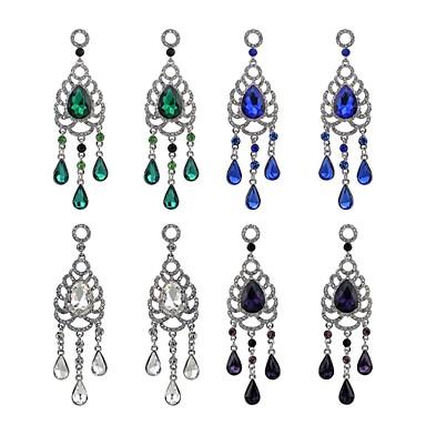 สำหรับผู้หญิง คริสตัล ต่างหูห้อย หล่น เลียนแบบเพชร ต่างหู เครื่องประดับ สีม่วง / สีเขียว / สีน้ำเงินกรมท่า สำหรับ ทุกวัน 1 คู่