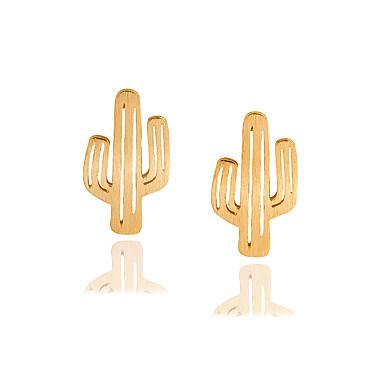 povoljno Modne naušnice-Žene Sitne naušnice Tropical Kaktus Stilski Jednostavan Osnovni Naušnice Jewelry Zlato / Pink / Rose Gold Za Dnevno Rad 1 par