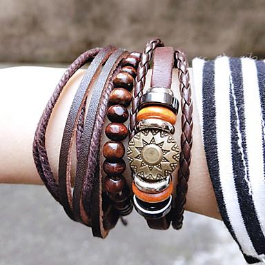 voordelige Herensieraden-3 stuks Heren Kralenarmband Vintage Armbanden Oorbellen / armband Meerlaags Zon Eenvoudig Uniek ontwerp Klassiek Vintage Modieus aitoa nahkaa Armband sieraden Bruin Voor Dagelijks School Straat