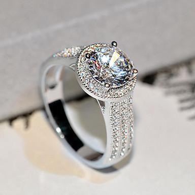 สำหรับผู้หญิง วงแหวน Cubic Zirconia 1pc สีเงิน S925 เงินสเตอร์ลิง โลหะผสม รูปร่างวงกลม คลาสสิก วินเทจ สง่างาม งานแต่งงาน การหมั้น เครื่องประดับ สไตล์วินเทจ Flower น่ารัก