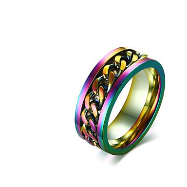 billige Motering-Herre Band Ring 1pc Sølv Rustfritt Stål Fargerik Bryllup Fest Smykker Regnbue