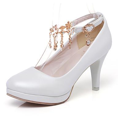 สำหรับผู้หญิง รองเท้าส้นสูง ส้น Stiletto ปลายกลม PU คลาสสิก / minimalism ฤดูใบไม้ผลิ & ฤดูใบไม้ร่วง สีดำ / ขาว / สีชมพู / ทุกวัน