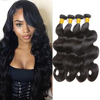 povoljno Ekstenzije od ljudske kose-4 paketića Malezijska kosa Tijelo Wave Remy kosa Headpiece Ljudske kose plete Bundle kose 8-28 inch Prirodna boja Isprepliće ljudske kose Kreativan Nježno Moda Proširenja ljudske kose