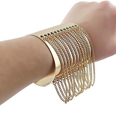 povoljno Modne narukvice-Žene Široke narukvice Rese U oblik Stilski Jedinstven dizajn Legura Narukvica Nakit Zlato Za Dnevno