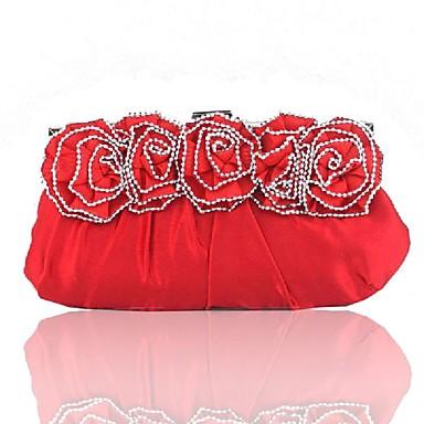 สำหรับผู้หญิง มุก / ดอกไม้ ผ้าไหม กระเป๋าราตรี สีทึบ สีดำ / สีเงิน / ทับทิม / ฤดูใบไม้ร่วง & ฤดูหนาว