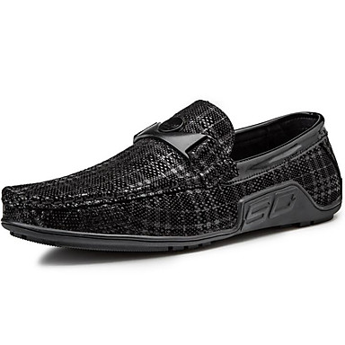 สำหรับผู้ชาย สไตล์อินเดียนแดง ผ้าใบ / หนังแกะ ฤดูใบไม้ผลิ รองเท้าส้นเตี้ยทำมาจากหนังและรองเท้าสวมแบบไม่มีเชือก สีดำ