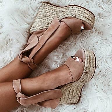 สำหรับผู้หญิง หนังนิ่ม ฤดูใบไม้ผลิ & ฤดูใบไม้ร่วง / ฤดูร้อนฤดูใบไม้ผลิ หวาน / minimalism รองเท้าแตะ รองเท้าส้นตึก ที่สวมนิ้วเท้า สีดำ / Almond