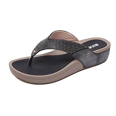 สำหรับผู้หญิง PU ฤดูร้อนฤดูใบไม้ผลิ ไม่เป็นทางการ / หวาน รองเท้าแตะและรองเท้าแตะ รองเท้าส้นตึก ปลายกลม หินประกาย สีดำ / ฟ้า / Almond
