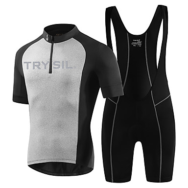 TRYSIL สำหรับผู้ชาย แขนสั้น Cycling Jersey with Bib Shorts สีดำ จักรยาน ชุดออกกำลังกาย ระบายอากาศ Sweat-wicking กีฬา สีพื้น ขี่จักรยานปีนเขา Road Cycling เสื้อผ้าถัก