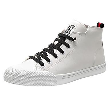สำหรับผู้ชาย รองเท้าสบาย ๆ แน๊บป้า Leather ตก รองเท้าผ้าใบ ขาว