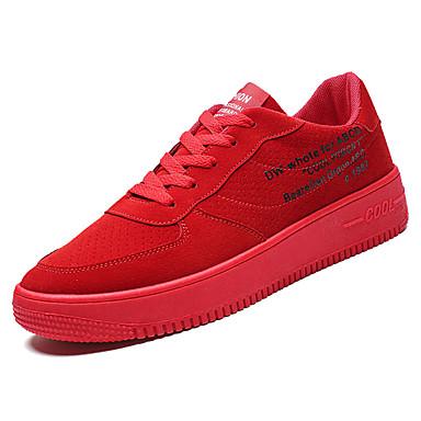 สำหรับผู้ชาย รองเท้าสบาย ๆ PU ฤดูใบไม้ผลิ ไม่เป็นทางการ รองเท้าผ้าใบ ระบายอากาศ สีดำ / ขาว / แดง