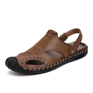 Ανδρικά Παπούτσια άνεσης Δερμάτινο Ανοιξη καλοκαίρι Καθημερινό Σανδάλια Αναπνέει Κίτρινο / Χακί / Μπορντώ