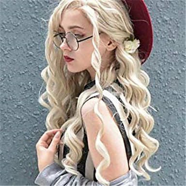 cheap Synthetic Lace Wigs-Synthetic Lace Front Wig Curly Spiral Curl Jenner Free Part Lace Front Wig Blonde Long Blonde Synthetic Hair 24 inch Women's Synthetic Easy dressing New Arrival Blonde