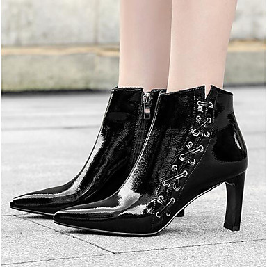สำหรับผู้หญิง บูท ส้น Stiletto แน๊บป้า Leather รองเท้าบู้ทหุ้มข้อ ฤดูใบไม้ร่วง & ฤดูหนาว สีดำ / ไวน์