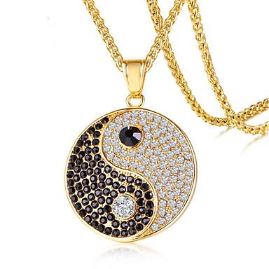 povoljno Modne ogrlice-Muškarci Kubični Zirconia Ogrlice s privjeskom Klasičan Sretan yin yang Moda Titanium Steel Zlato Pink 60 cm Ogrlice Jewelry 1pc Za Dar Dnevno