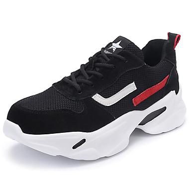 สำหรับผู้หญิง รองเท้ากีฬา ส้นแบน หนัง / Tissage Volant สำหรับวิ่ง ฤดูใบไม้ผลิ สีดำ / ขาว