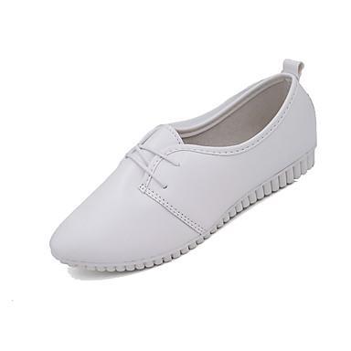 สำหรับผู้หญิง รองเท้าส้นเตี้ย ส้นแบน Pointed Toe PU ฤดูใบไม้ผลิ & ฤดูใบไม้ร่วง / ฤดูร้อนฤดูใบไม้ผลิ สีดำ / ขาว
