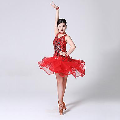 ชุดเต้นละติน ชุดเดรสต่างๆ สำหรับผู้หญิง การฝึกอบรม / Performance เส้นใยสังเคราะห์ / สแปนเด็กซ์ ชั้น / ปักเลื่อม เสื้อไม่มีแขน สูง ชุดเดรส