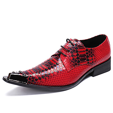 billige Utvalgte tilbud-Herre Novelty Shoes Silke / Nappa Lær Vår / Høst Fritid / Britisk Oxfords Skli Fargeblokk Rød / Bryllup / Fest / aften / Fest / aften / Pen sko
