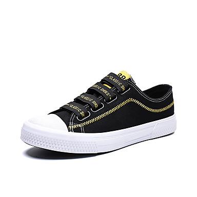 สำหรับผู้ชาย รองเท้าวัลคาไนซ์ ผ้าใบ ฤดูร้อนฤดูใบไม้ผลิ ไม่เป็นทางการ รองเท้าผ้าใบ ระบายอากาศ สีดำและสีขาว / สีดำและสีเหลือง