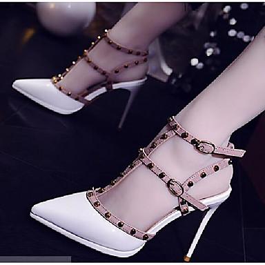 สำหรับผู้หญิง รองเท้าแตะ ส้น Stiletto Synthetics ฤดูร้อนฤดูใบไม้ผลิ ขาว / สีเหลือง / แดง