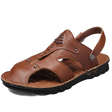 สำหรับผู้ชาย รองเท้าสบาย ๆ หนัง ฤดูใบไม้ผลิ / ฤดูร้อน Sporty / ไม่เป็นทางการ รองเท้าแตะ ระบายอากาศ สีน้ำตาล / กลางแจ้ง