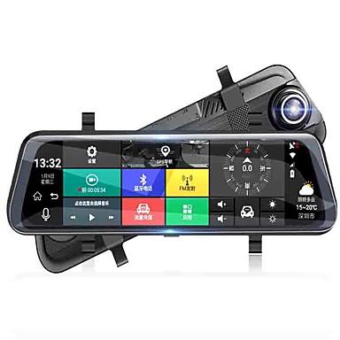 hesapli Araba DVR-Tam ekran akış medya dikiz aynası araba dvr 140 derece geniş açı wifi ile 10 inç çizgi kam / gps / gece görüş araba kaydedici
