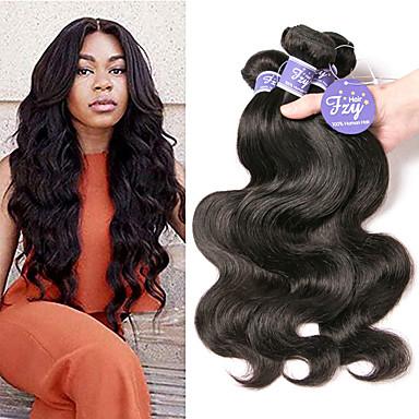 4 Bundles / กลุ่ม ผมบราซิล คลื่นหลัก ไม่ได้เปลี่ยนแปลง 100% Remy Hair Weave Bundles มนุษย์ผมสาน ผมต่อแท้ 8-28 inch ธรรมชาติ สานเส้นผมมนุษย์ การออกแบบทางด้านแฟชั่น อย่างผ้าไหม ผู้หญิง