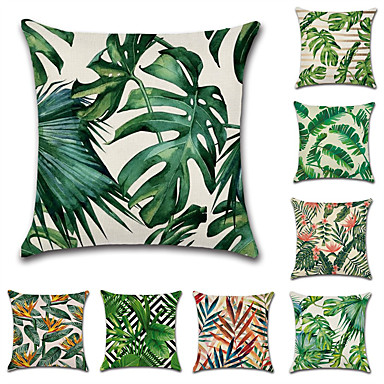 cheap Cushion Covers-Cushion Cover 1PC Linen Soft Floral&Plants Square Throw Pillow Cover Cushion Case Pillowcase for Sofa Bedroom Superior Quality Machine Washable